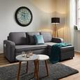 Wohnlandschaft Selena mit Schlaffunktion und Bettkasten - Grau, MODERN, Holz/Textil (250/161cm) - Bessagi Home