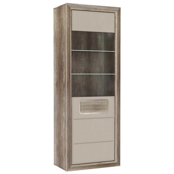 Vitrină Tiziano - bej/culoare lemn stejar, Modern, plastic/sticlă (74/203,4/43,5cm)