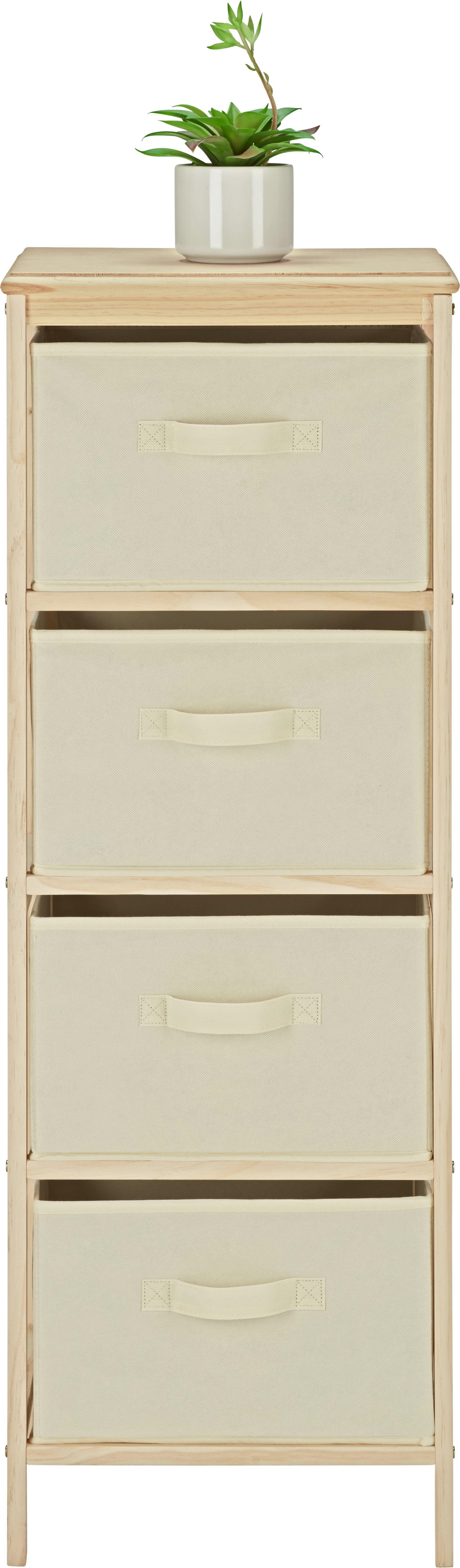 Kommode in Weiß/Natur aus Kiefer - Naturfarben/Weiß, MODERN, Holz/Textil (37/103/30cm) - MÖMAX modern living