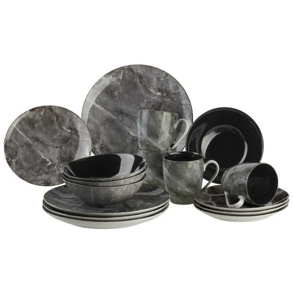 Serviciu De Masă Complet Marble - negru/gri, Modern, ceramică (28,5/30,2/23cm) - Premium Living