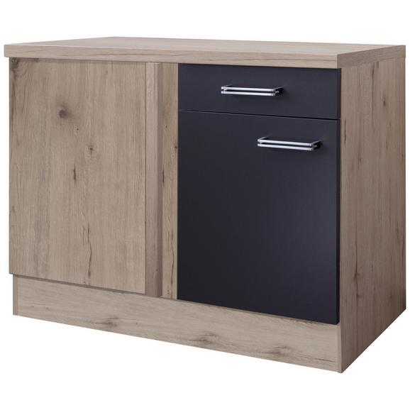 Corp Pe Colț Milano - culoare inox/culoare lemn stejar, Modern, compozit lemnos/metal (110/86/60cm)
