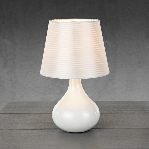 Tischleuchte Carlos - Weiß, MODERN, Keramik/Textil (17/27cm)