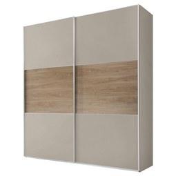 Schwebetürenschrank Includo B:188cm Sand/ Puccini Dekor - Sandfarben/Eichefarben, MODERN, Glas/Holzwerkstoff (188/222/68cm) - Bessagi Home