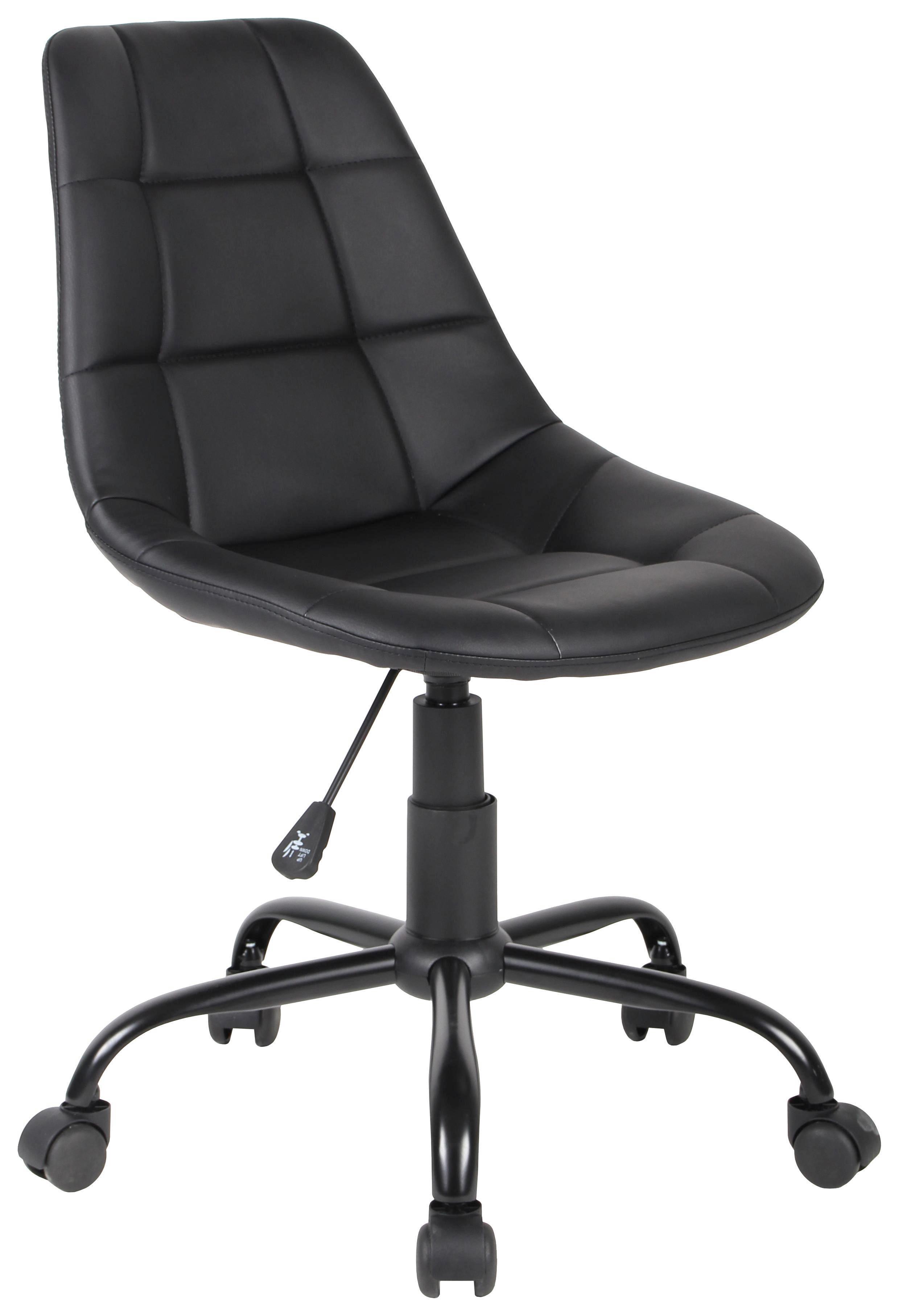 Forgószék Rudolf - fekete, modern, műanyag/textil (52/81-89/53,5cm)