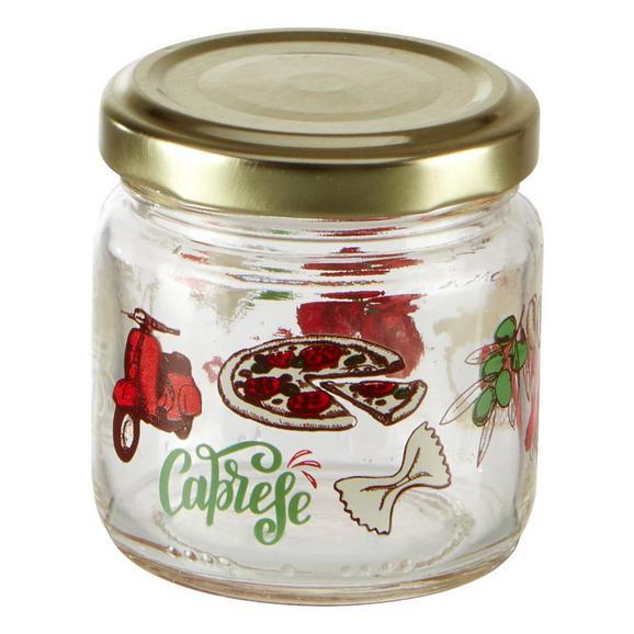 Einmachglas Sauce mit buntem Design - Transparent/Rot, Glas (5,7/6,1cm) - Mömax modern living