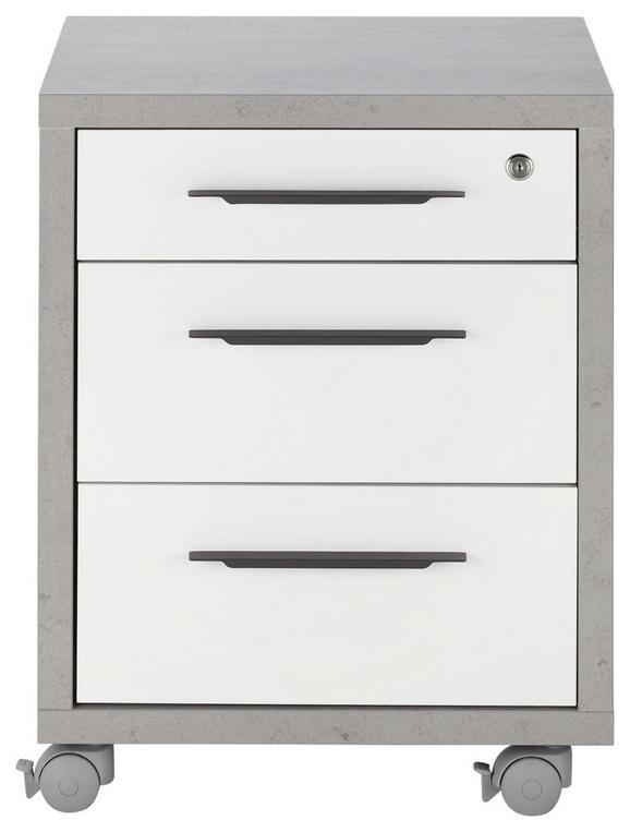 Rollcontainer Weiß/Grau - Anthrazit/Weiß, MODERN, Holzwerkstoff/Kunststoff (47/63/45cm) - Mömax modern living