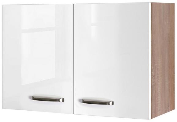 Küchenoberschrank Weiß Hochglanz/Eiche - Edelstahlfarben/Eichefarben, MODERN, Holzwerkstoff/Metall (80/54/32cm)