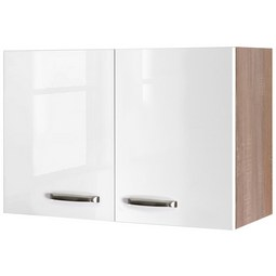 Kuhinjska Zgornja Omarica Venezia Valero - bela/hrast, Moderno, kovina/leseni material (80/54/32cm)
