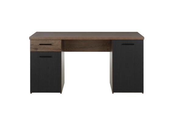 Pisalna Miza Tokio -exklusiv- - odtenki umazano rjave/črna, Moderno, kovina/umetna masa (145/76,3/60cm) - Mömax modern living