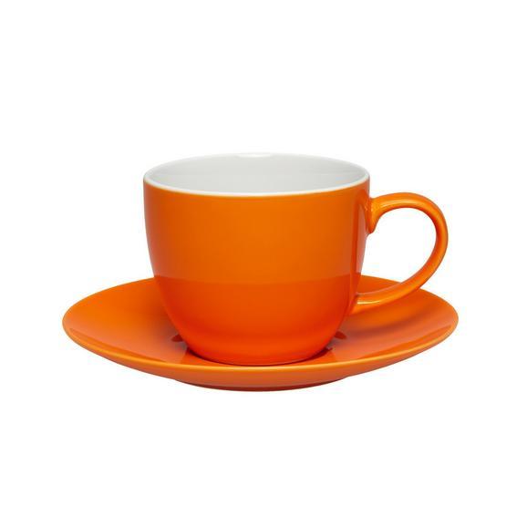 Kaffeetasse mit Untertasse Sandy in Orange aus Keramik - Orange, KONVENTIONELL, Keramik (5/6,9cm) - Mömax modern living