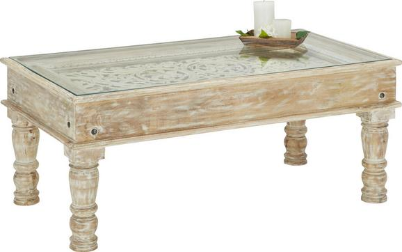 Couchtisch Holz - Naturfarben/Weiß, LIFESTYLE, Glas/Holz (110/46/60cm) - Premium Living