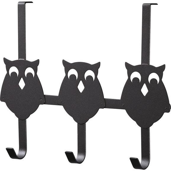 Cuier Perete Cu Cârlige Eule 3 - negru, metal (32/25/8,2cm)