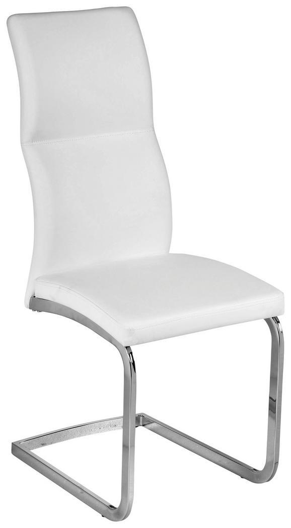 Szék Wave - krómszínű/fehér, modern, műanyag/textil (44/102/62cm)