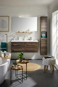 Waschtischkombi Walnussfarben - Chromfarben/Walnussfarben, MODERN, Holzwerkstoff/Weitere Naturmaterialien (120/51/46cm) - Premium Living