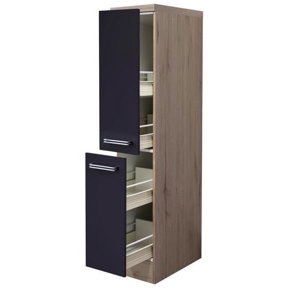 Apothekerschrank Anthrazit/Eiche - Edelstahlfarben/Eichefarben, MODERN, Holzwerkstoff/Metall (30/162/57cm) - FlexWell.ai