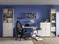Schreibtisch Weiß Hochglanz - Chromfarben/Weiß, MODERN, Holzwerkstoff/Metall (130/76/128,5cm) - Mömax modern living