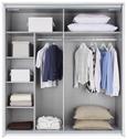 Schwebetürenschrank Beton/Weiß-spiegel ohne Ppt - Weiß/Grau, KONVENTIONELL, Holzwerkstoff (180/198/64cm) - Modern Living