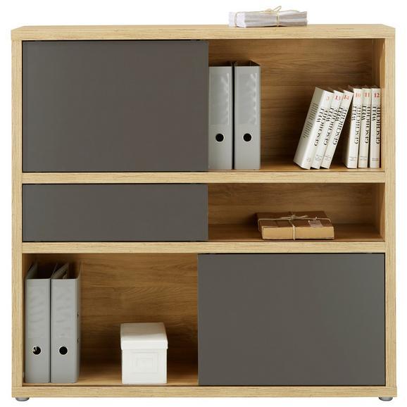 Regal Eichefarben - Eichefarben/Anthrazit, MODERN, Holzwerkstoff/Kunststoff (116,6/112,8/37cm) - Premium Living
