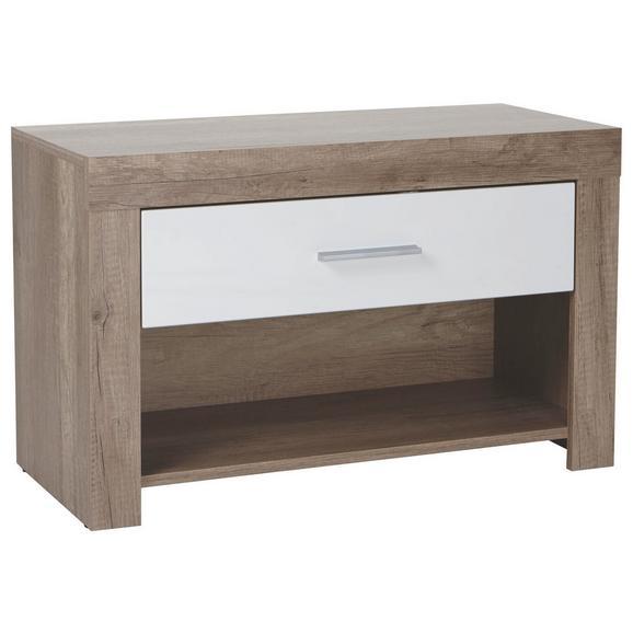 Sitzbank in Eichefarben - Chromfarben/Eichefarben, MODERN, Kunststoff (80/49/36cm) - Mömax modern living
