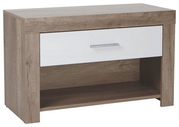 Sitzbank Weiß/Eiche - Chromfarben/Eichefarben, MODERN, Kunststoff (80 49 36cm) - Mömax modern living