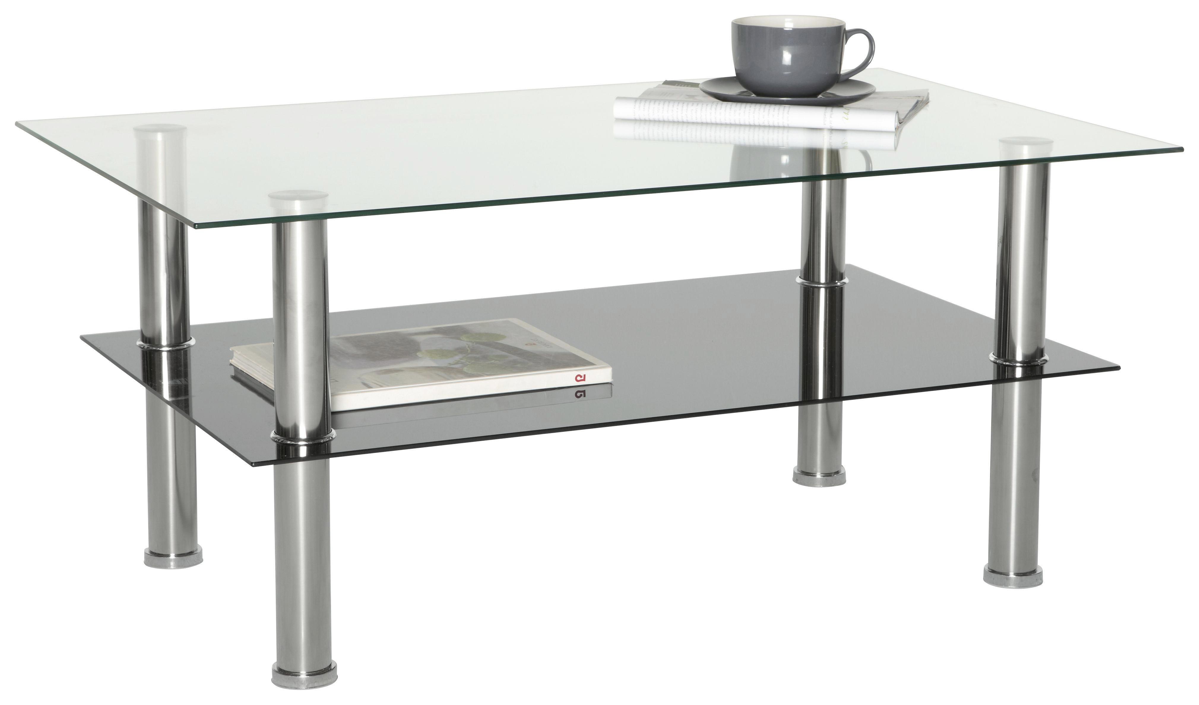 Couchtisch aus Glas - Klar/Edelstahlfarben, MODERN, Glas/Metall (100/45/60cm) - BASED