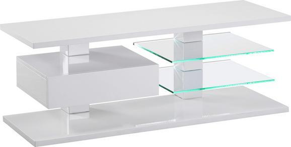 MÉDIAÁLLVÁNY WIEN - Fehér, modern, Faalapú anyag/Üveg (120/45/42cm)