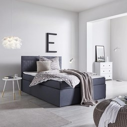 Boxbett Rosa ca.140x200cm inkl. Topper - Anthrazit, MODERN, Holz/Textil (205/140/103cm) - Mömax modern living