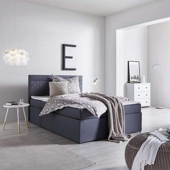 Boxspringbett Rosa ca.140x200cm inkl. Topper - Anthrazit, MODERN, Holz/Textil (205/140/103cm) - Mömax modern living