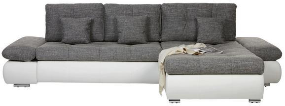 Wohnlandschaft in Grau/Weiß mit Bettfunktion - Chromfarben/Schwarz, KONVENTIONELL, Kunststoff/Textil (303/185cm) - Modern Living
