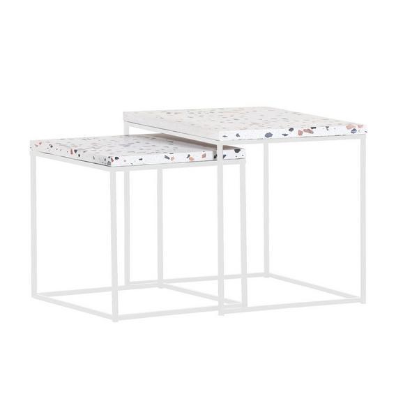 Beistelltisch in Weiß, 2er Set - Weiß, MODERN, Stein/Metall (40/35/40/35/40/35cm) - Premium Living