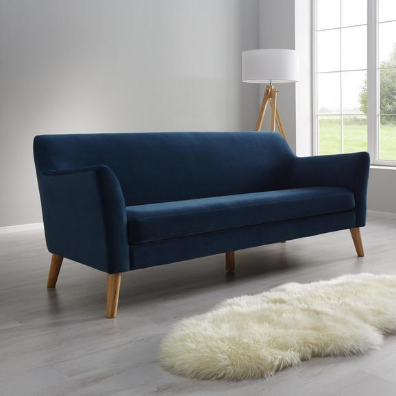 Sofa Patrick Dreisitzer - Blau, MODERN, Holz/Textil (200/84/84cm) - Bessagi Home