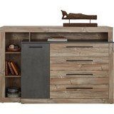 Sideboard in Kieferfarben - Dunkelgrau/Schwarz, LIFESTYLE, Holzwerkstoff/Kunststoff (160,5/107,3/43,4cm) - Modern Living