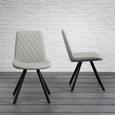 Stuhl in Hellgrau 'Rieke' - Hellgrau/Schwarz, MODERN, Textil/Metall (48/83,5/44cm) - Bessagi Home