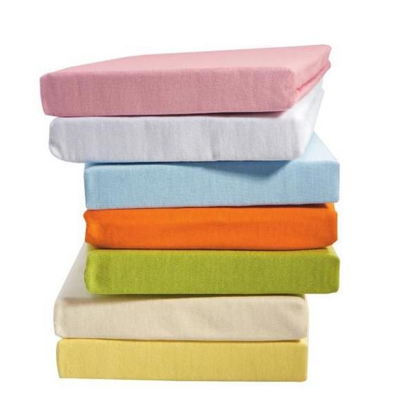 Gumis Lepedő Jersey - Világoskék/Rózsaszín, Textil (70/140cm) - Mömax modern living