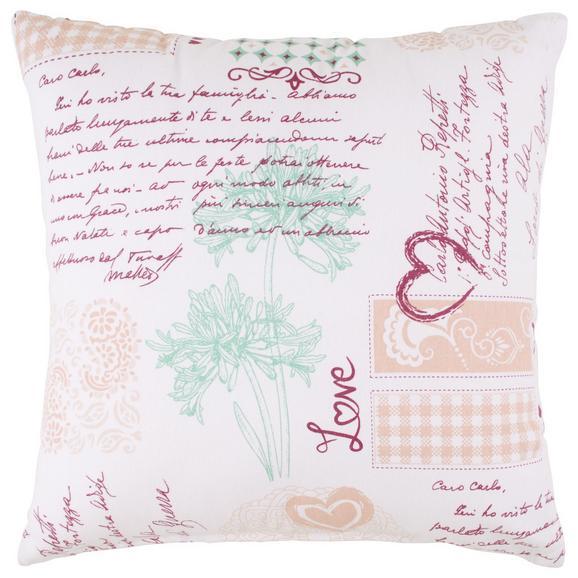 Zierkissen Romance in Weiß ca. 45x45cm - Bordeaux/Weiß, ROMANTIK / LANDHAUS, Textil (45/45cm) - Modern Living