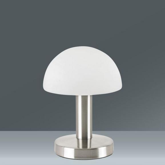 Asztali Lámpa Érintőkapcsolós - nikkel színű/fehér, üveg/fém (21cm)