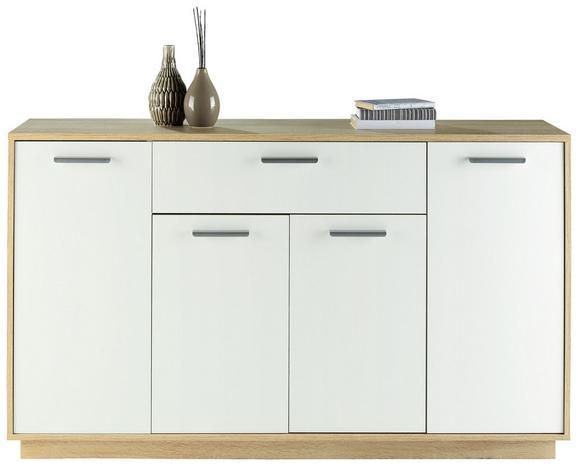 Sideboard Weiß/buchefarben - Eichefarben/Weiß, MODERN, Holzwerkstoff/Kunststoff (149/86/37cm)