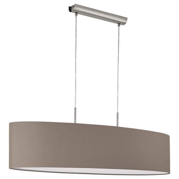 Hängeleuchte max. 60 Watt 'Pasteri' - Taupe/Nickelfarben, MODERN, Textil/Metall (100/28/110cm)