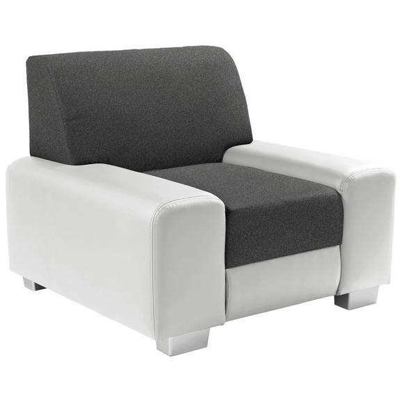 Fotelja Miami - bijela/svijetlo siva, Modern, drvo/metal (104/81/90cm)