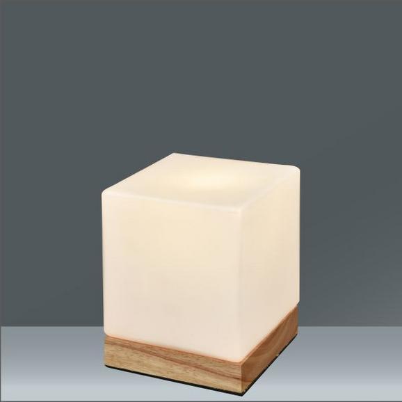 Tischleuchte Cube, max. 40 Watt - MODERN, Glas/Holz (13/13/15,5cm)