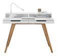 Pisalna Miza Durham - bela/rjava, Moderno, leseni material/les (110/85/58cm) - Zandiara