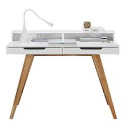 Schreibtisch Weiß/Braun - Braun/Weiß, MODERN, Holz/Holzwerkstoff (110/85/58cm) - Zandiara