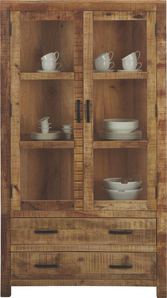 Vitrine in Braun aus Mangoholz - Naturfarben, LIFESTYLE, Holz (100/180/42cm) - ZANDIARA