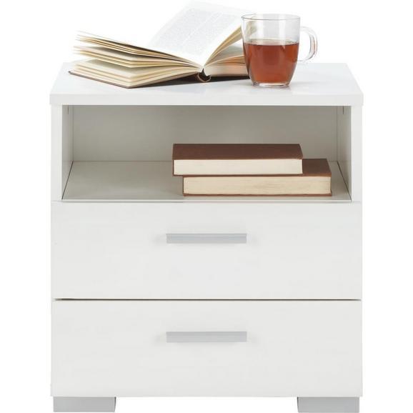Nachtkästchen in Weiß - Alufarben/Weiß, Holzwerkstoff/Kunststoff (45/47/35cm) - Modern Living