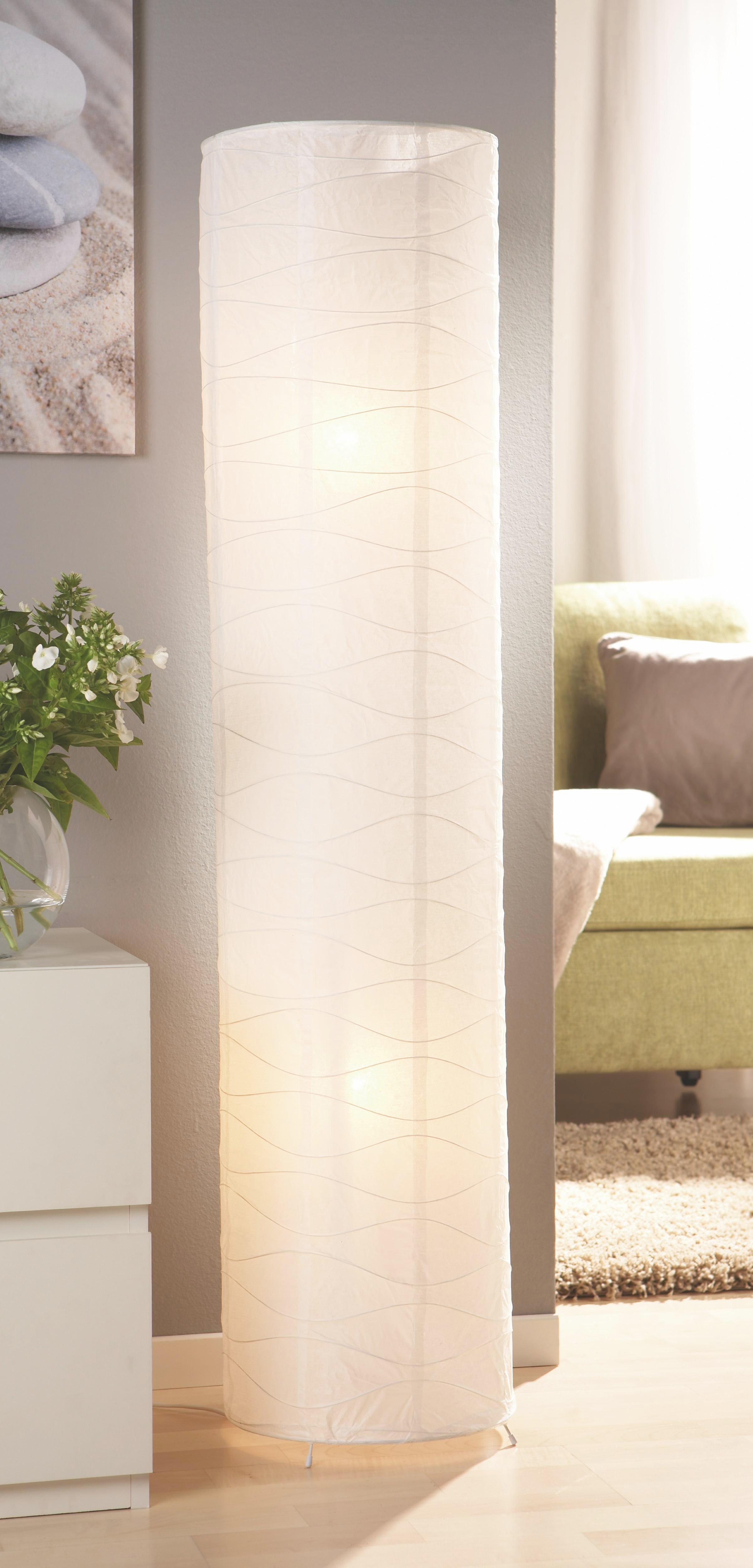 Állólámpa Francesco - krómszínű/fehér, konvencionális, fém/papír (27,5/120cm) - BASED