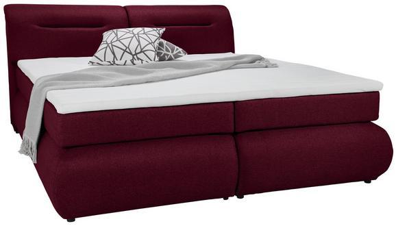 Boxspringbett in Bordeauxrot ca. 140x200cm - Bordeaux/Rot, Kunststoff/Textil (240/150/100cm) - Premium Living