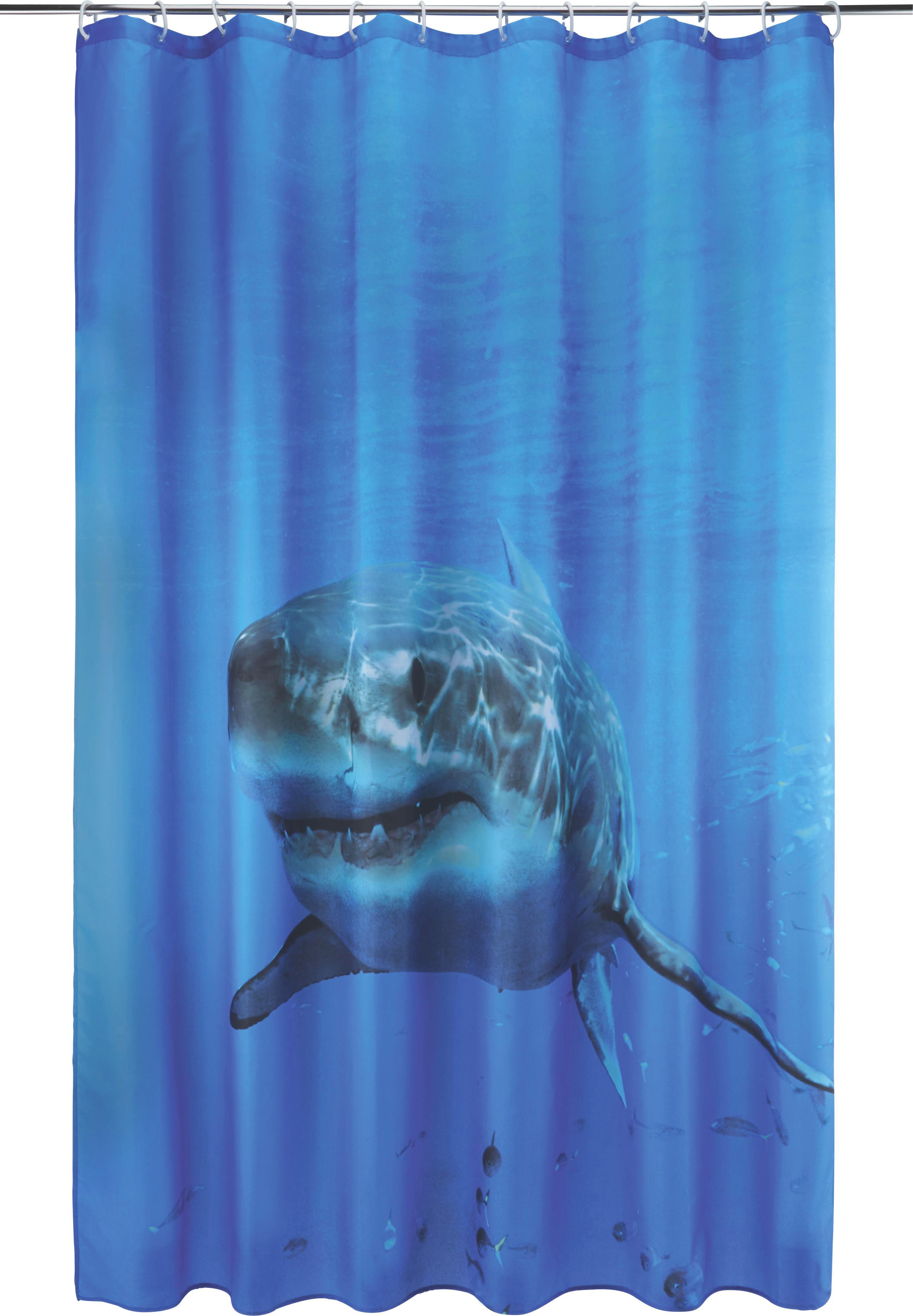 Duschvorhang Hai in Blau, ca. 180x200cm - Blau/Weiß, Textil (180/200cm) - MÖMAX modern living