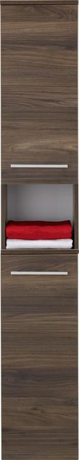 Hochschrank Walnussfarben - Chromfarben/Walnussfarben, MODERN, Glas/Holzwerkstoff (31/177/32cm) - Premium Living