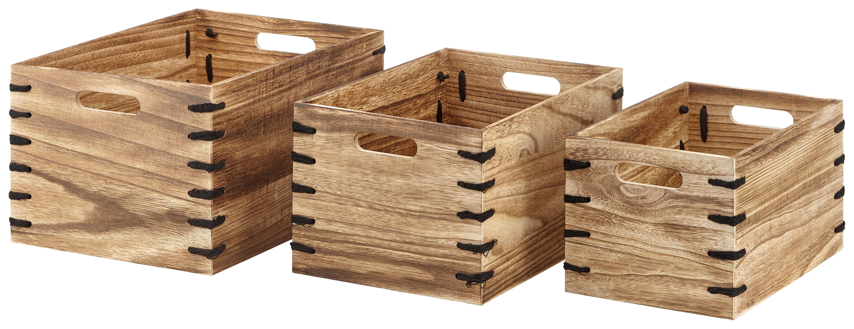 Image of Aufbewahrungsboxen-Set Woody in Braun, 3-teilig