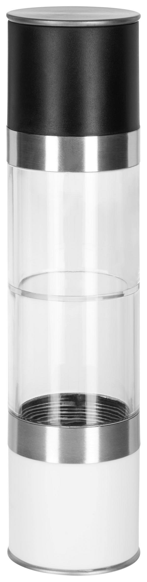 Salz- und Pfefferstreuer Pippa in Schwarz/Weiß - Edelstahlfarben/Transparent, Keramik/Kunststoff (5/22cm) - Mömax modern living